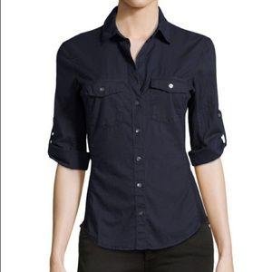 Navy Blue James Perse Side Panel Shirt 4/XL